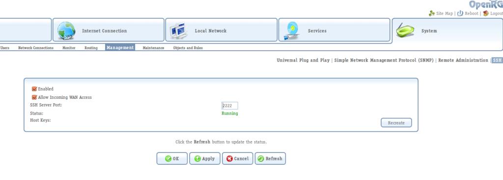 OpenRG SSH service configuration